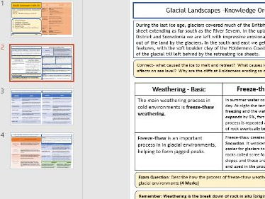 AQA GCSE 9-1: Glacial Landscapes in the UK - Knowledge Organisers and Revision Summaries.