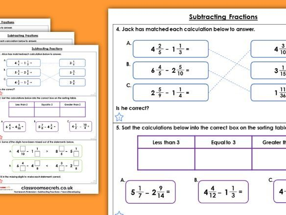 Year 6 Subtracting Fractions Autumn Block 3 Maths Homework Extension