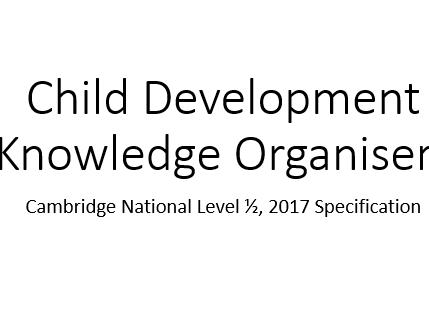 Level 1-2 Child Development Knowledge Organisers (Cambridge National)