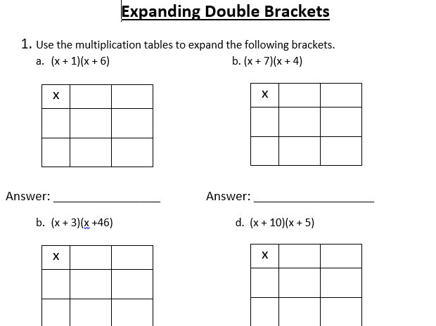 Expanding Brackets Lesson and Worksheet