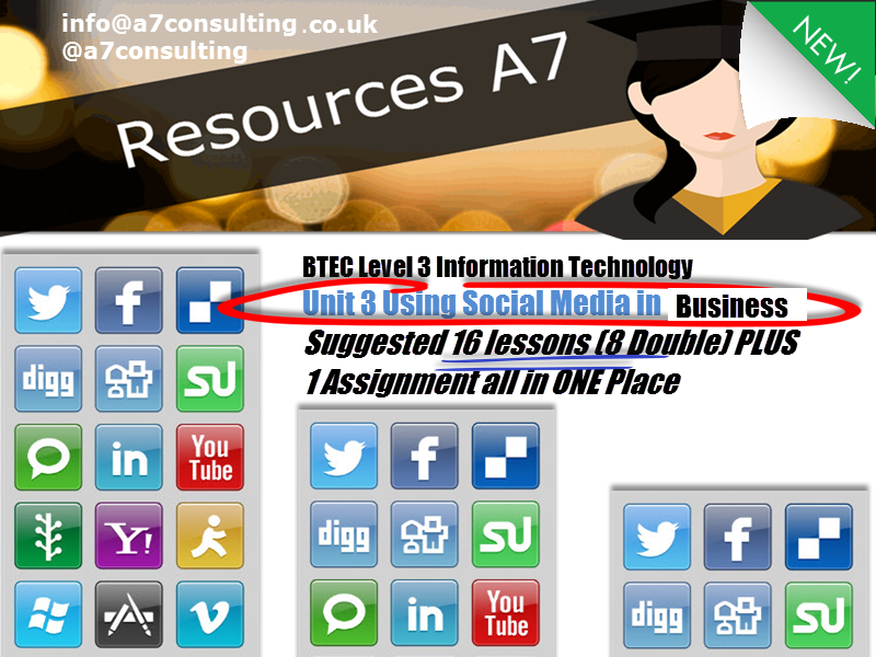 BTEC (2016) Level 3 IT, Unit 3  Using Social Media in Business 8 double lessons! With assignment