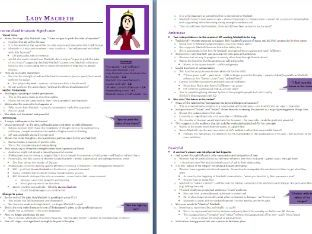 Lady Macbeth Character Grade 9 Revision Guide (8 pages)