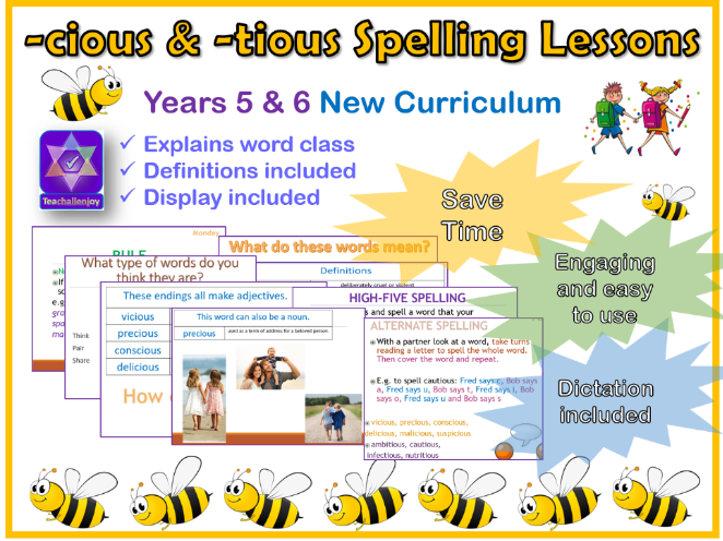 Year 5/6 Week of Spelling Lessons and Dictation -cious and -tious endings