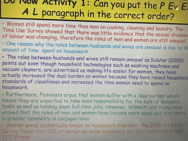 AS Sociology Family - Conjugal Roles and the Domestic Division of Labour