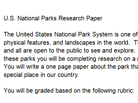 National parks research paper by ashdchristie teaching resources tes cover image sciox Images