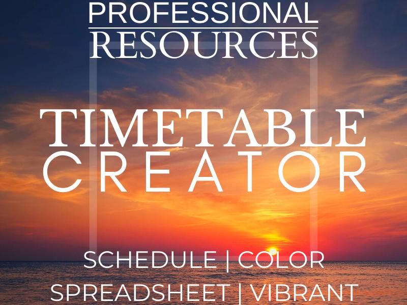 Timetable Creator | Editable | Schedule | Weekly | Spreadsheet