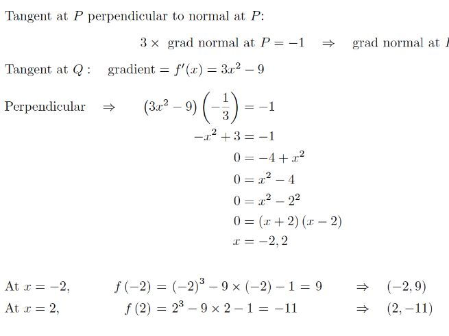 Differentiation Tangents and Normals Part 2