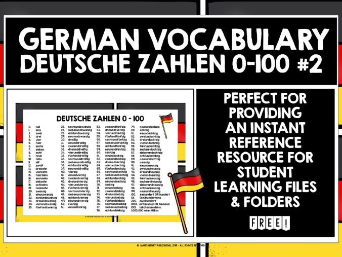 GERMAN NUMBERS 0-100 REFERENCE LIST 2