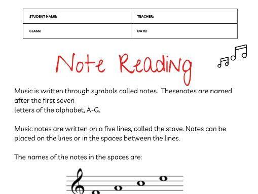 Music Notation Worksheet