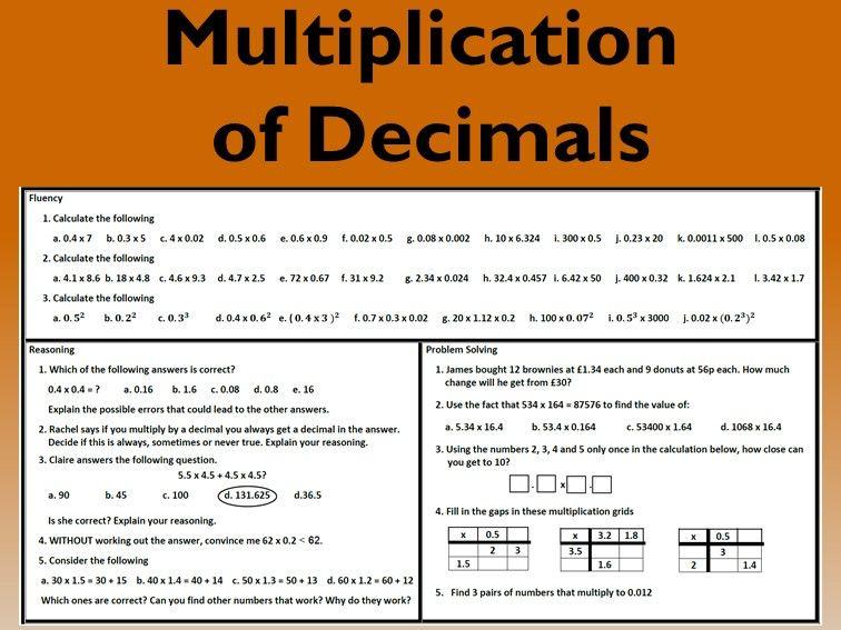 Multiplication of Decimals Problem Solving Mastery Worksheet