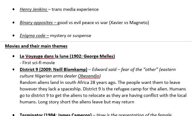 GCSE Media - Sci-Fi Key Terms and Theorists with Movie example bank