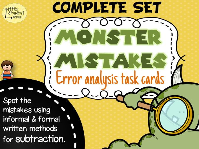 Error Analysis / Spot the Mistake Task Cards for Written Subtraction Methods COMPLETE SET