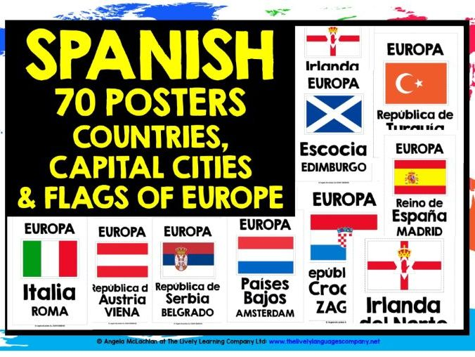 SPANISH CLASSROOM DISPLAY EUROPE COUNTRIES, CAPITALS & FLAGS