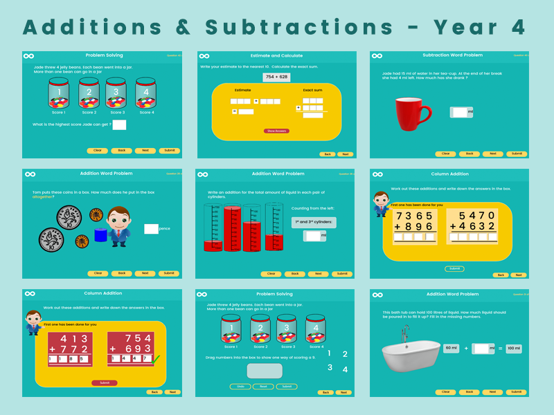 Additions & Subtractions - Year 4 , key stage 2