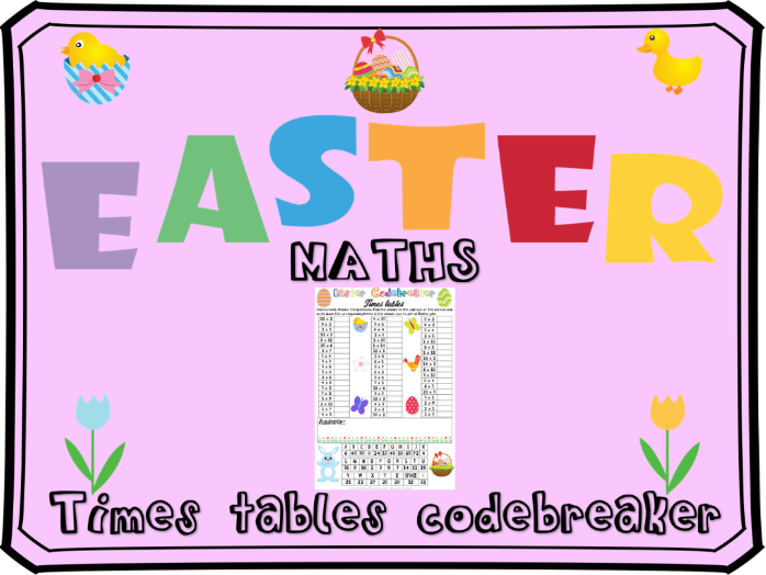 Easter maths multiplication code breaker