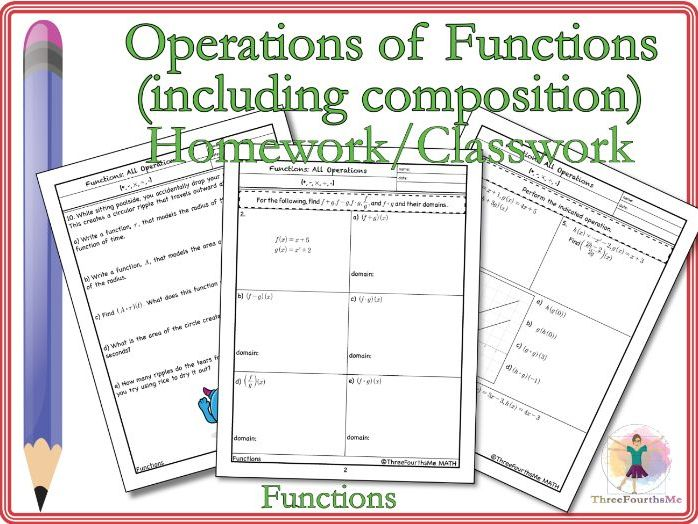 Operations of Functions Classwork and/or Homework