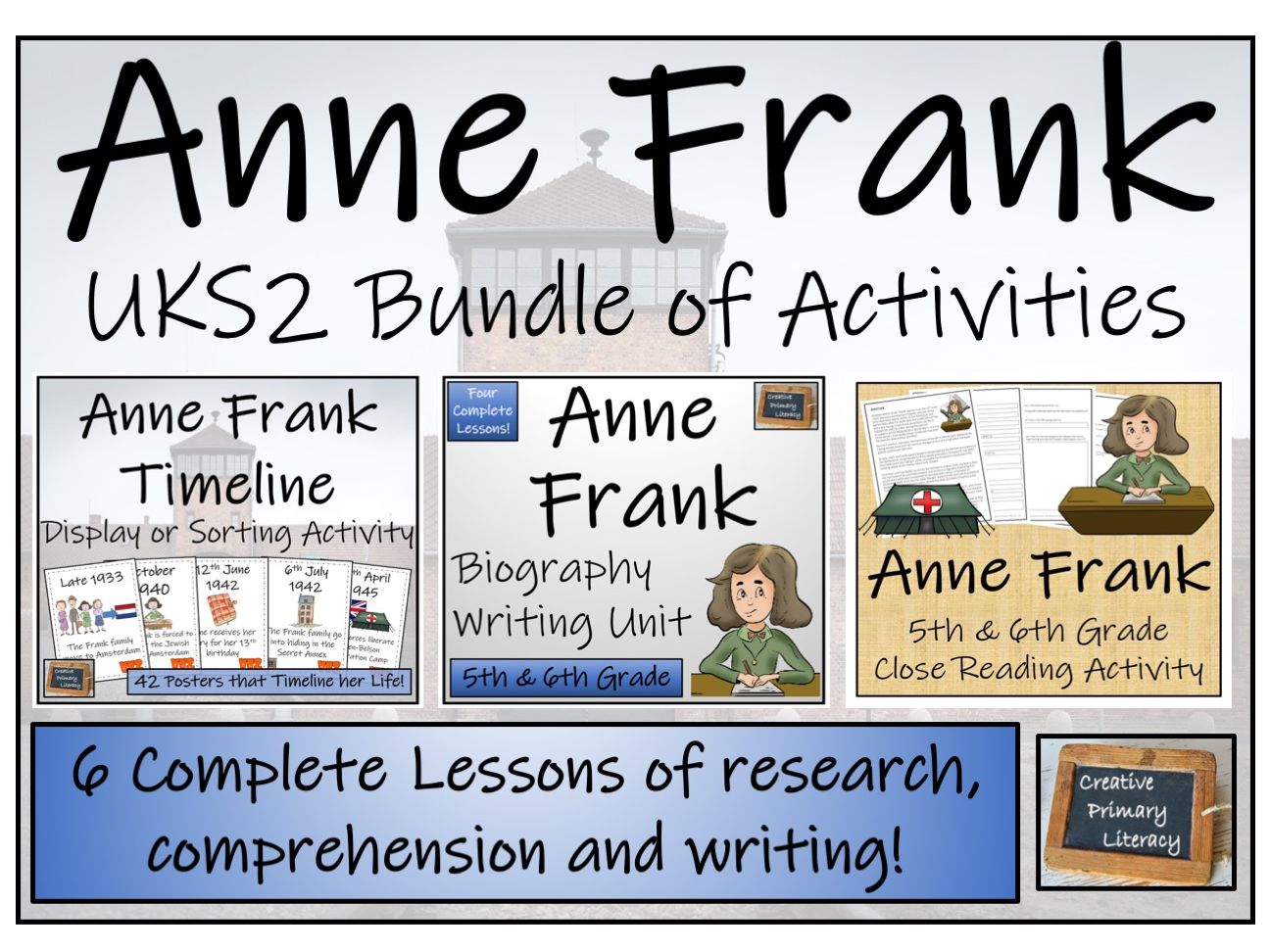 UKS2 Anne Frank Display, Sorting, Reading Comprehension & Biography Bundle