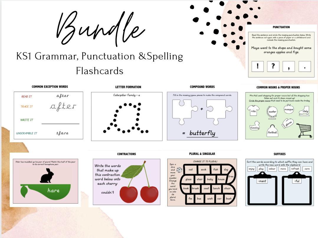 KS1 English Grammar, Punctuation & Spelling Flashcards
