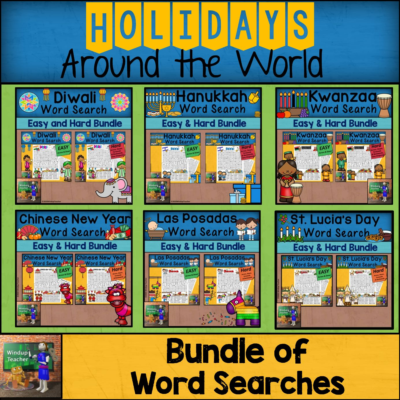 Holidays Around the World | BUNDLE of Elementary Word Searches