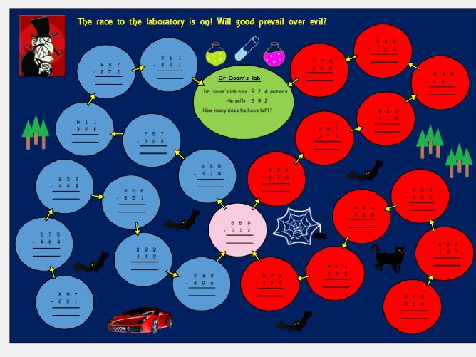 Dr Doom's column subtraction game / activity for Year 3 (not editable)