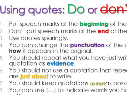Using quotes for GCSE (Macbeth)