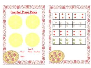 Fraction game - halves, thirds, quarters, sixths and eighths