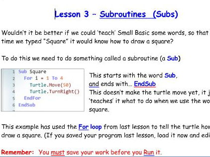 Introduction to programming using Small Basic - (KS2-KS3) - Lesson 3 Subroutines