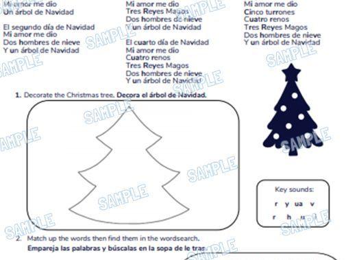Spanish Primary School Worksheet & MP3 Music File - Christmas Theme (5 Days of Christmas)