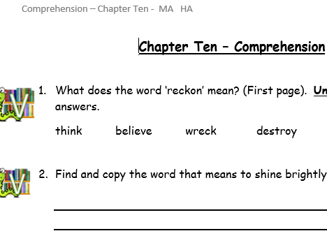 Reading comprehension questions - VIPERS Toto by Michael Monpurgo Chap 4