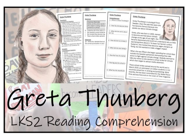 LKS2 Literacy - Greta Thunberg Reading Comprehension Activity