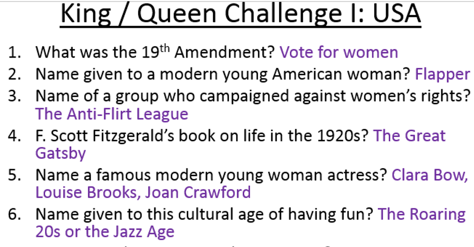 Eduqas / WJEC GCSE History changes USA 1910-1929  king & queen knowledge tests