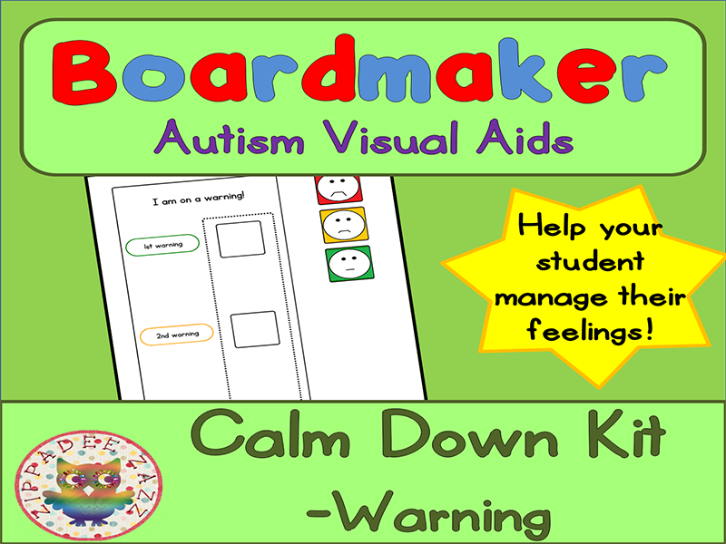 Calm Down Warning Chart - Boardmaker Visual Aids for Autism PECS