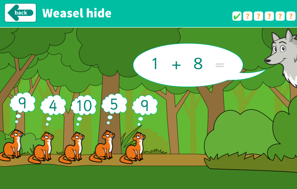 Addition to 10 - Weasel Hide Interactive Game - KS1 Number