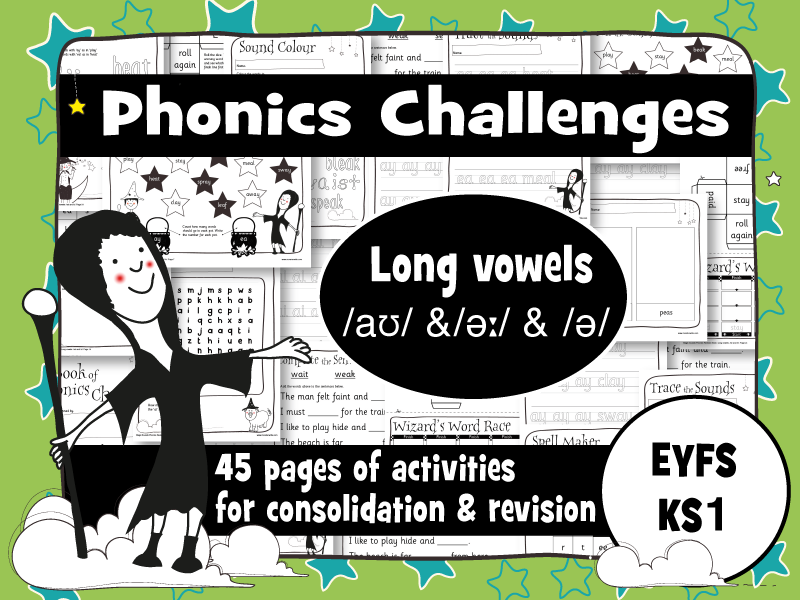 45 Phonics Revision Activities: Long vowels: /aʊ/ and /əː/and /ə/ (ow, ou, er)