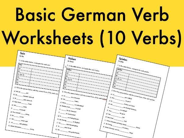 Basic German Verb Worksheets (10 Verbs)