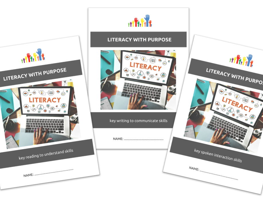 LITERACY SKILLS bundle - READ TO UNDERSTAND, WRITE TO COMMUNICATE, SPOKEN INTERACTIONS x3 workbooklets