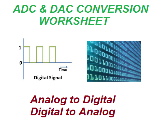 Computer Science ADC & DAC Conversion worksheet