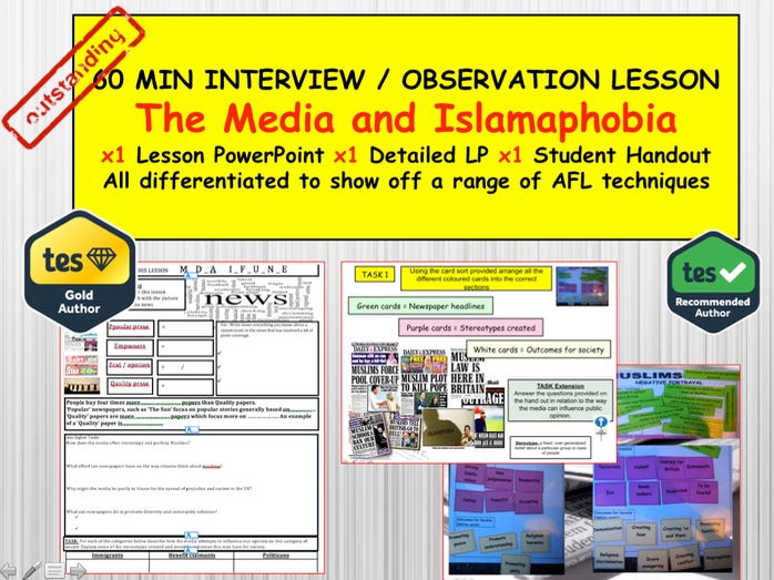 Islamaphobia and Media : (Interview or Observation Lesson Resources) PSHE Citizenship.