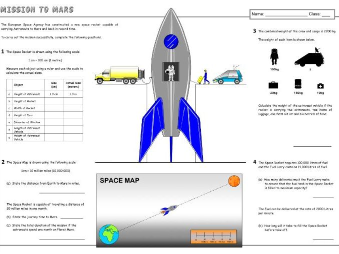 Mission to Mars (Maths) A3 Worksheet