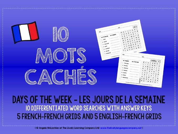 PRIMARY FRENCH - DAYS OF THE WEEK - 10 DIFFERENTIATED WORD SEARCHES