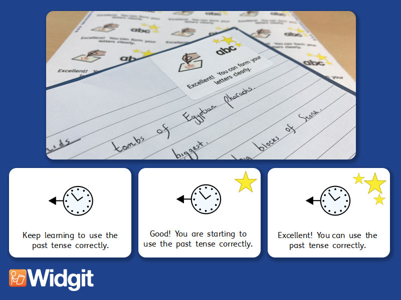 Tenses - Marking Stickers with Widgit Symbols