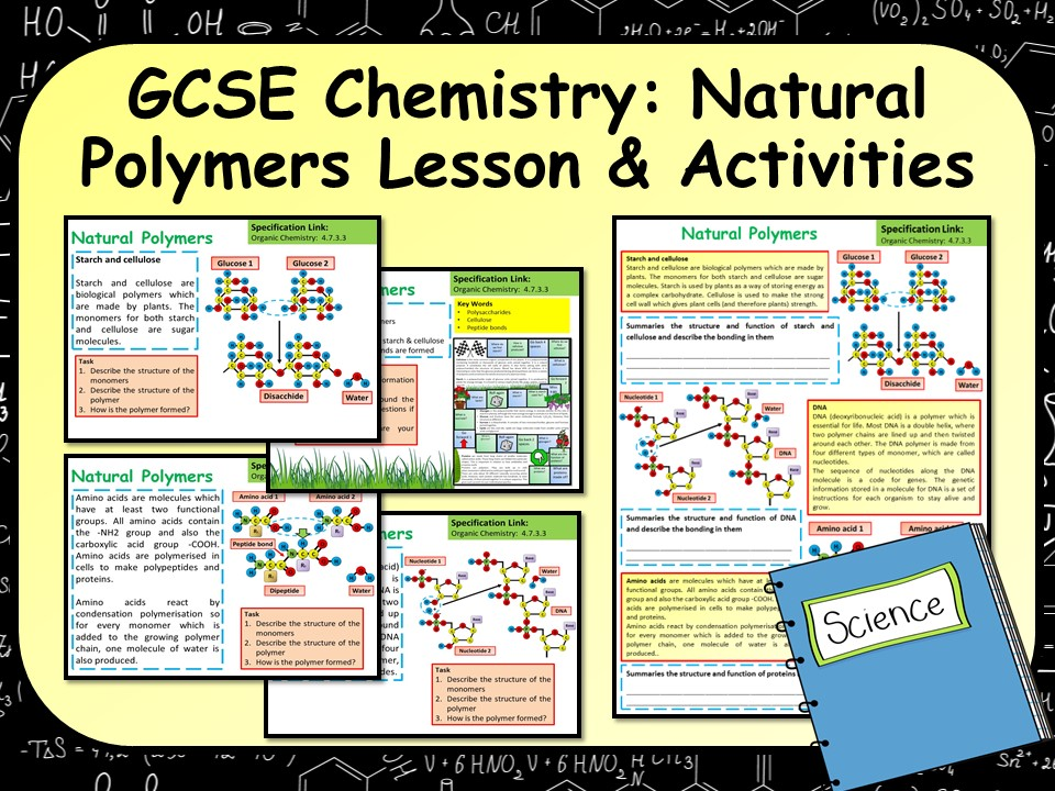 KS4 AQA GCSE Chemistry (Science) Natural Polymers Lesson & Activities