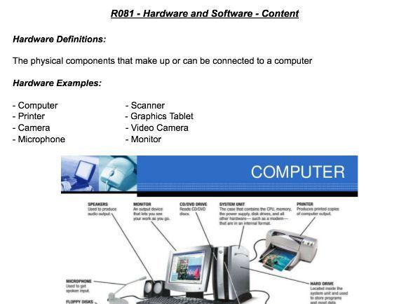 R081 - Hardware, Software and Digitising Documents WorkSheet - Creative i-Media