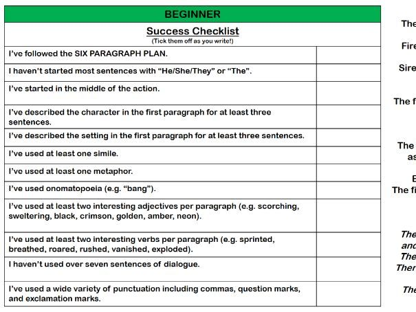 CREATIVE WRITING SUCCESS CHECKLISTS + FREE WRITING PLAN