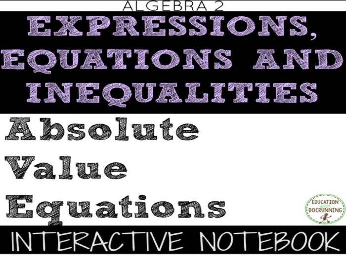 Absolute Value Equations Color Interactive Notebook