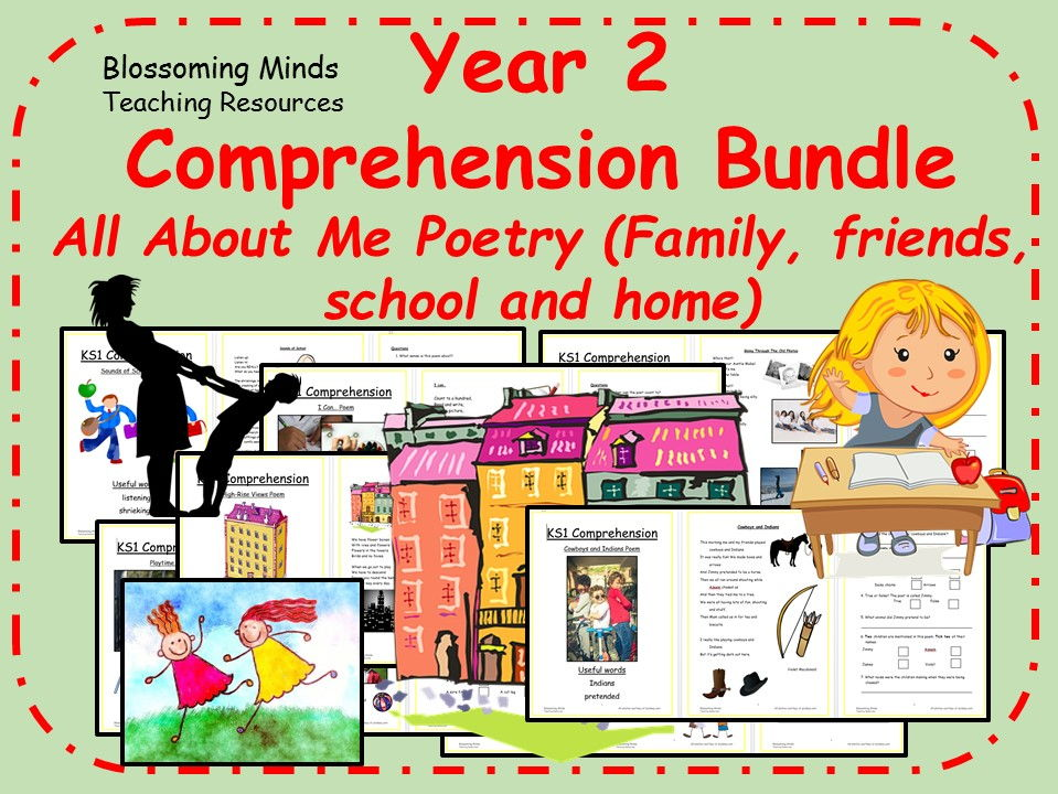 Year 2 poetry comprehension bundle - All About Me theme