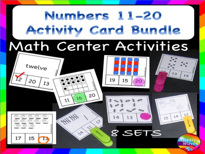 Kinder Maths Centre Activity COUNTING NUMBERS 11-20 BUNDLE OF ACTIVITIES