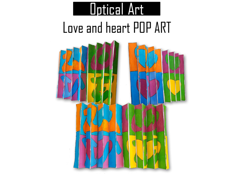 Optical illusion activity love and heart Pop Art