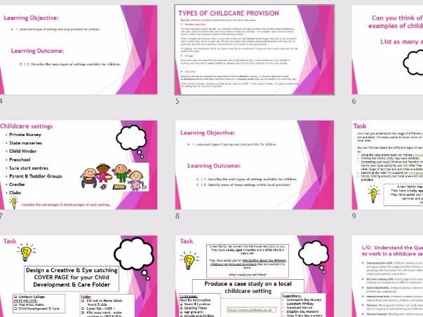CACHE Child Development & Care Unit 1 - Childcare Settings & Provisions - PPTS & Worksheets/Activity