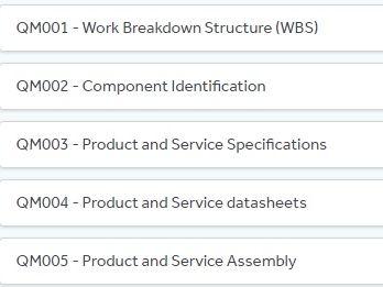 QM001 Work Breakdown Structure